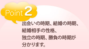 point2出会いの時期、結婚の時期、結婚相手の性格、独立の時期、勝負の時期が分かります。
